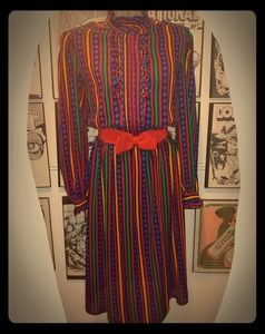 Vintage 80s Colorful Striped Secretary Dress